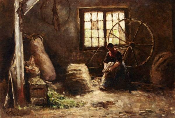 A Peasant Woman Combing Wool